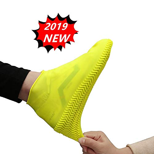 Reusable Rain Snow Boot Shoe Covers, Waterproof Rain Socks, Silicone Rubber Shoes For Men Women Kids, Durable Slip-Resistant Protectors Overshoes For Indoor & Outdoor (Yellow) (L (Length 11.42 In)) (Rain Boots Motorcycle)