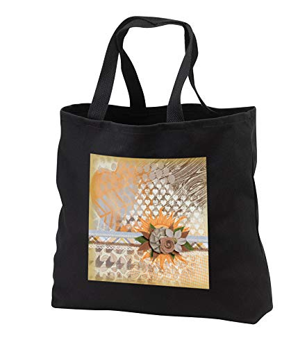Beverly Turner Autumn Design - Autumn Colored Abstract with the Sun and Flower Accents - Tote Bags - Black Tote Bag 14w x 14h x 3d (tb_301971_1)