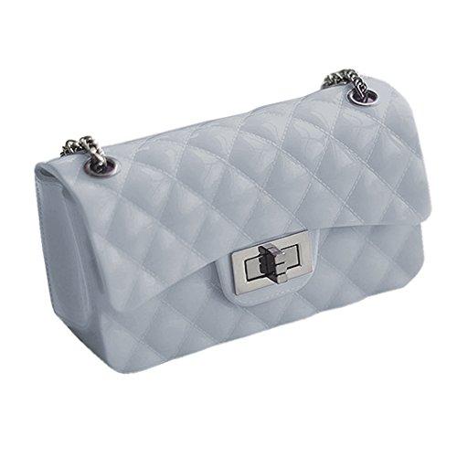 Young & Ming Mini Bolso del Mujer hombro Crossbody embrague Shoppers y bolsos de hombro para Women piel Soft PU de rombo de La bolsa de mensajero armario de metal Gris Azul