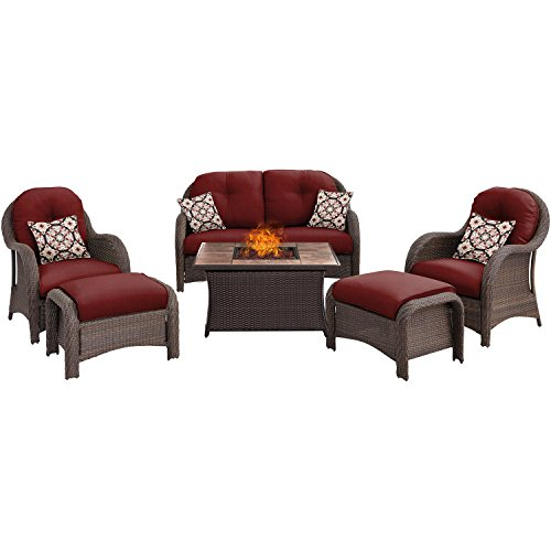 - Hanover NEWPT6PCFP-RED-TN Newport 6-Piece Woven Seating Set in Crimson Red with Fire Pit Table Outdoor Furniture, Stone Top