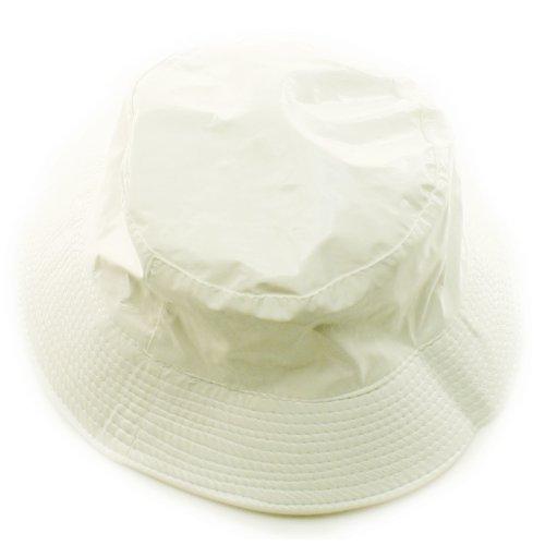 Ladies Girls Rain Resistant Bell Bucket Foldable Travel Cap Hat Cap White 56cm