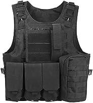 PAXLamb Tactical MOLLE Vest Adjustable Tactical CS Field Vest Airsoft Paintball Vest Combat Training Vest Deta