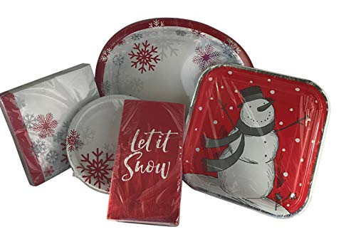 Large Christmas Let It Snow Heavy Duty Paper Plate and Napkin Bundle - 20 Count ()