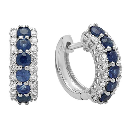Dazzlingrock Collection 14K Round Blue Sapphire & White Diamond Ladies Huggies Hoop Earrings, White Gold