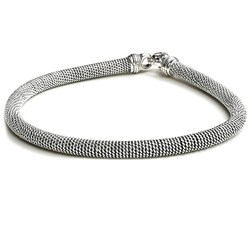 Handcraft 925 Sterling Silver Bali Style Bracelet for Men Women Unisex (7) by Kham