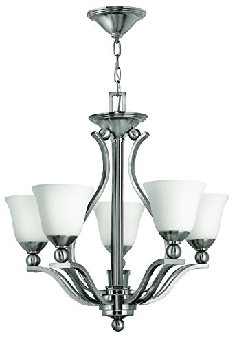 Bolla Transitional Chandelier - Hinkley 4655BN Transitional Five Light Foyer from Bolla collection in Pwt, Nckl, B/S, Slvr.finish,