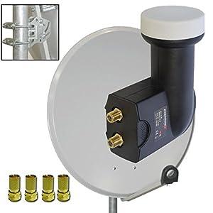 premiumx antenne sat sch ssel 80cm alu pxa80 hellgrau f r. Black Bedroom Furniture Sets. Home Design Ideas