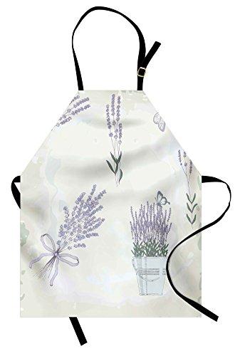 - Lunarable Lavender Apron, Floral Vintage Composition with Rustic Elements Butterflies Bouquets, Unisex Kitchen Bib Apron with Adjustable Neck for Cooking Baking Gardening, Lavender Green