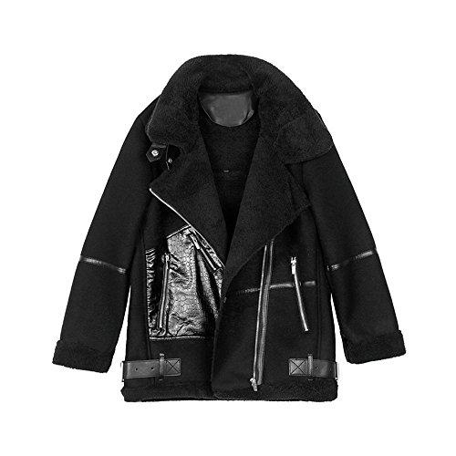 de abrigo de invierno en uno Negro chaqueta piel Todo mujer qxpHTXtq
