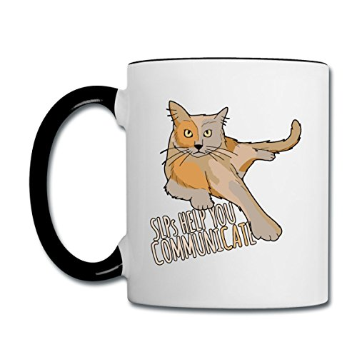 Spreadshirt SLPs Help You Communicate Cat Contrast Coffee Mug, - Cat Slp