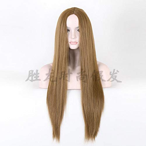 YBL hairpieces Golden Long Straight Hair Wig Brazilian Personality Fashion Salon Wig Halloween Role Playing Rose Net Scalp Carnival 70cm (Color : Linen Yellow)
