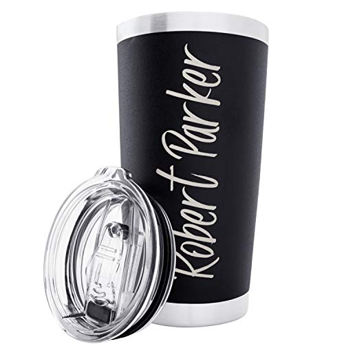 Personalized Tumblers Custom Your Name and Color on Stainless Steel Tumbler Coffee Mug Free Laser Engraving (Design 1, Black)