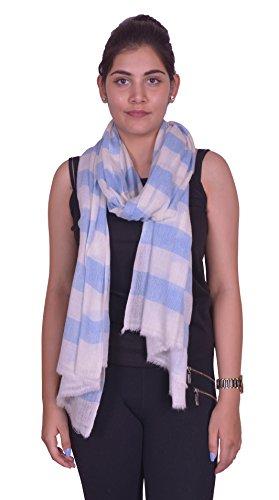 Wool & Silk Yarn Fabric, Oversize, Super Soft, Warm & Light Weight Striped Scarf.X1828 ()