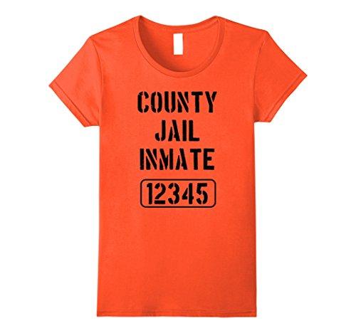 Womens Prisoner Costume Tshirt | County Jail Inmate Tee Small Orange (Prisoner Outfit Women)