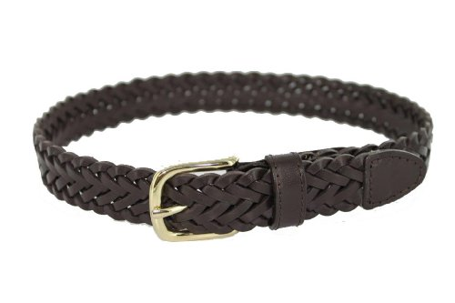 Thomas Bates Dillon Boys Leather Braid (30, Brown) (Braid Leather Belt)