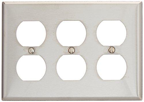 Morris 83230 430 Wall Plate, Duplex Receptacle, 3 Gang, Stainless Steel