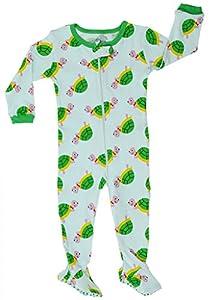 "Elowel Baby Boys footed ""Turtle"" pajama sleeper 100% cotton (size 6M-5Years)"