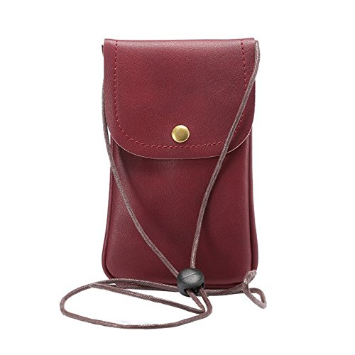 (Cell Phone Bag, Alotm Universal PU Leather Crossbody Pouch with Shoulder Strap Mobile Phone Carrying Case Compatible with Samsung S8 S7 S6 Edge Under 5.7'' (Dark Red))