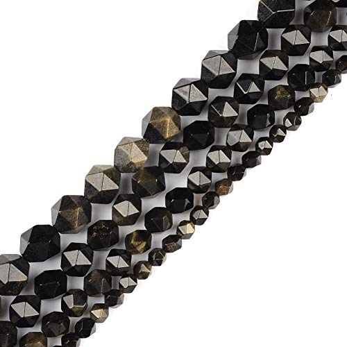 - 6mm 8mm 10mm 12mm AAA Grade Faceted Beads Natural Stone Beads DIY Precious Gemstone Loose Strand Beads for Jewelry Making Perles Semi (Gold Obsidian, 8MM)