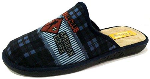 INBLU - Zapatillas de estar por casa de tela para hombre azul turquesa 40 azul Size: 42