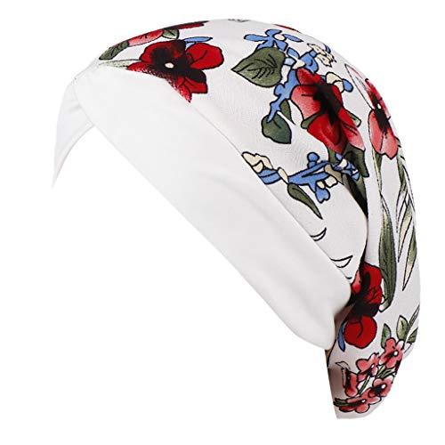 Palalibin Women Cap,Women Floral Printed India Hat Muslim Ruffle Cancer Chemo Beanie Turban Wrap Cap(B,Free)