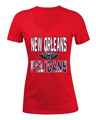 (5th & Ocean NBA New Orleans Pelicans Women's Baby Short sleeve V Neck Tee, Red, Medium)