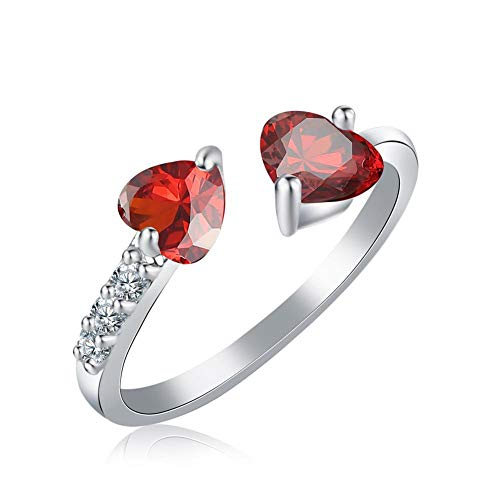 XCFS 925 Sterling Silver Cubic Zirconia Ruby Red Garnet Rhinestones Double Heart Band Ring,Adjustable