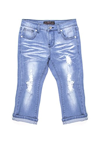 Girls Denim Capri Pants (Lavo Girls Super Soft Stretch Fashion Capri Jeans with Rips Tears & Whiskers Medium Blue Wash Denim Size 6)