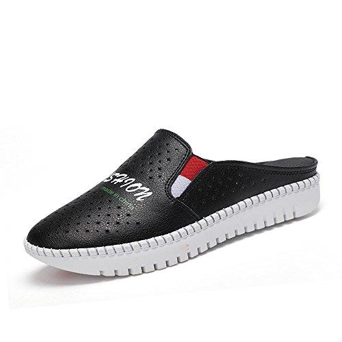 CHANCLAS SANDALS Zapatillas femeninas de verano Zapatos blancos Zapatillas femeninas de moda (Blanco / Negro) elegante ( Color : Negro , Tamaño : EU36/UK4/CN36 ) Negro