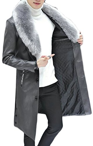 today-UK Mens Slim Fit Faux Fur Collar Long Sleeve PU Faux Leather Solid Jacket Grey