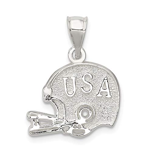 925 Sterling Silver Usa Football Helmet Pendant Charm Necklace Sport Man Fine Jewelry Gift For Dad Mens For Him