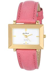 Peugeot Womens PQ8323PK Gold-Tone Faceted Crystal Pink Leather Strap Watch