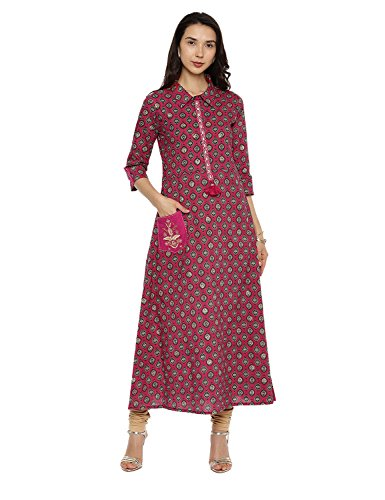 Dress for Women Multicoloured Women's Kurta Pink3 Women Kurti Tunic Long Aaboli Printed Casual Baqw60A