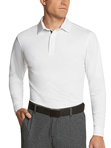 - Men's Dry Fit Long Sleeve Polo Golf Shirt, Moisture Wicking and UV Protection White
