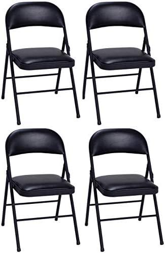 Cosco Vinyl Commercial Padded Folding Chair 4 Pack – Black 14993BLK4E