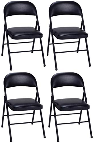 Set of 4 Folding Chairs with Vinyl Padded Seat Black By Cosco