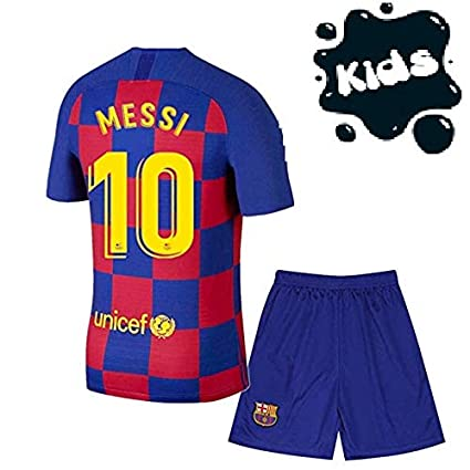 Golden Fashion Barcelona Home Kit Messi Printed Kids Jersey 2019 2020 Jersey With Short Amazon In Sports Fitness Outdoors
