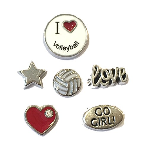 I Love Volleyball Floating Locket Charms - Set of 6