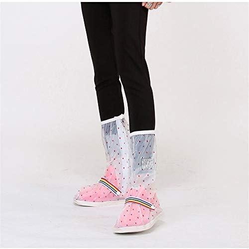 レインブーツ 女性のマルチカラー高防水レインブーツ、PVC防水靴カバー、自転車の靴カバー 防水レインブーツシューズカバー (Color : Transparent dots, Size : S)