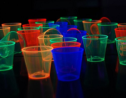 [Neon Assorted Blacklight Reactive Plastic Shot Glasses 1oz 50 Count] (Rave Themed Costume Ideas)