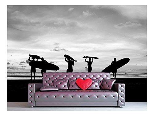 wall26 - Silhouette of Surfer People Carrying Their Surfboard on Sunset Beach, Black and White Color - Removable Wall Mural | Self-Adhesive Large Wallpaper - 100x144 inches