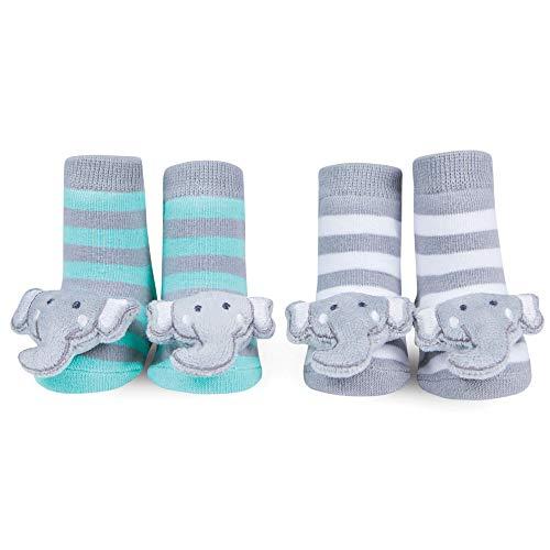 WADDLE Unisex Grey Elephant Baby Socks Striped Plush Rattle Gift Ida 0-12 Months -