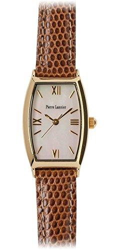 PIERRE LANNIER watch Tonneau Watch Gold / Lizard embossed tea P131D590 L44 Ladies