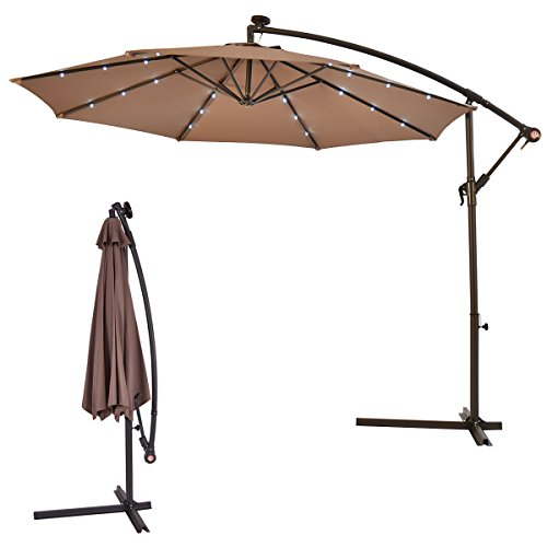 HTH Store 10' Hanging Solar LED | Umbrella Patio Sun Shade | Offset Market with Base Tan | Light Umbrella | Big Shelter Umbrella | Umbrella with Light (Umbrella Light Up)