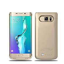 Galaxy S6 Edge Plus Battery Case, 2015 Newest 4200mAh Ultra Slim Rechargeable Extended Battery Charging Case forSamsung Galaxy S6 Edge Plus, Backup External Battery Charger Case, Portable Backup Power Bank Case with Kickstand Gold