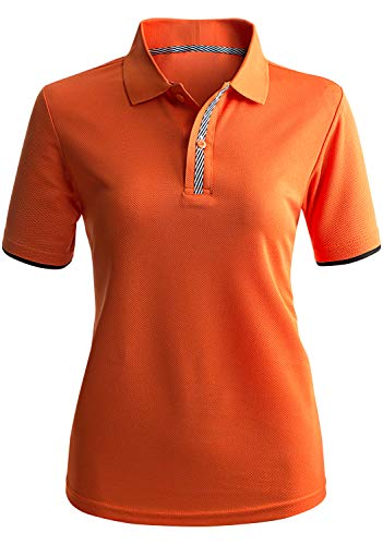 Womens Polo Top - CLOVERY Women's Athletic Sweat Evaporate Quickly Short Sleeve 2-Button Polo Top Orange XL Plus Size