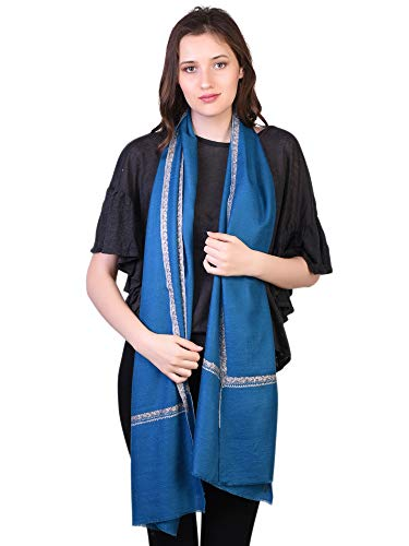 Cachemire Ricamo Da Mano Sciarpa Inverno Scialle Donna Handspun Blu Kashfab Pashmina 100 EwqRnpg7