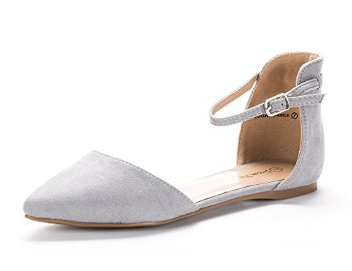 (DREAM PAIRS Flapointed-Ankle Women's Casual D'Orsay Pointed Plain Ballet Comfort Soft Slip On Flats Shoes New Grey Size 7)