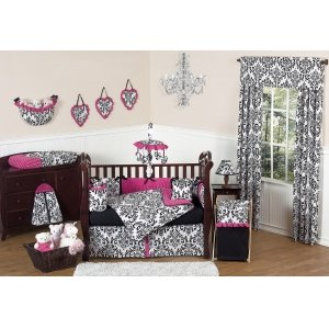 Sweet Jojo Designs 3-Piece Hot Pink, Black and White Isabella Children's and Teen Full / Queen Girls Bedding Set (Fashionista Comforter Set)