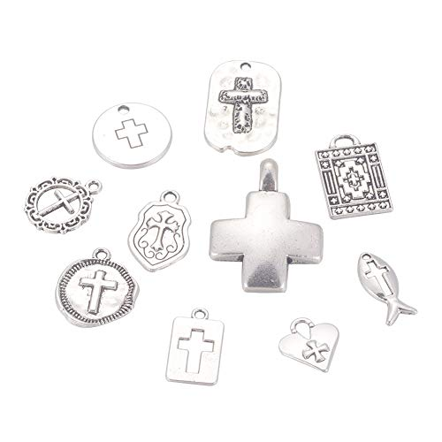 Kissitty 60Pcs Tibetan Antique Silver 10 Styles Cross Pattern Charms Collections Mixed Shapes Metal Pendants or DIY Craft Jewelry -